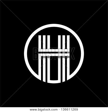 H capital letter made of of three white stripes enclosed in a circle . Overlapping with shadows monogram, logo, emblem. Trendy design.