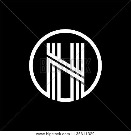 N capital letter made of of three white stripes enclosed in a circle . Overlapping with shadows monogram, logo, emblem. Trendy design.