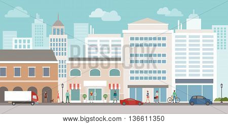 City urban skyline with office buildings shops car traffic and people walking on the street