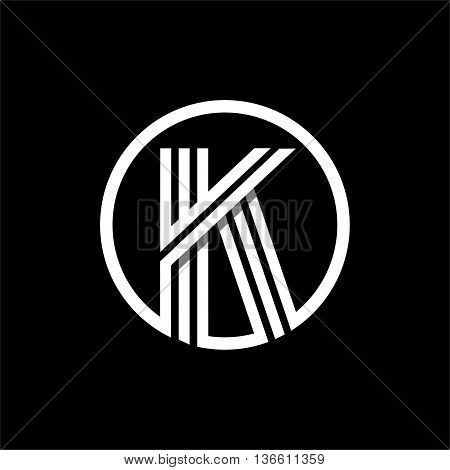 K capital letter made of of three white stripes enclosed in a circle . Overlapping with shadows monogram, logo, emblem. Trendy design.