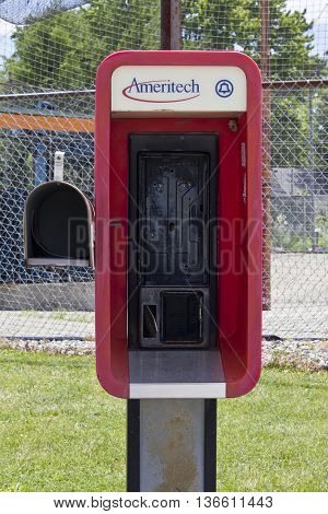 Indianapolis - Circa June 2016: Abandoned Ameritech Pay Phone. Ameritech is now part of AT&T I