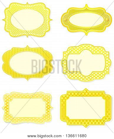 Set of yellow icon designs in old fashioned style