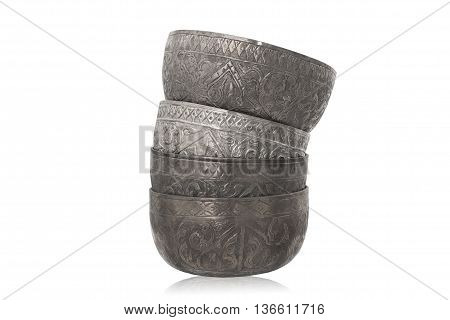 four pieces of old thai style silver bowl stacking up