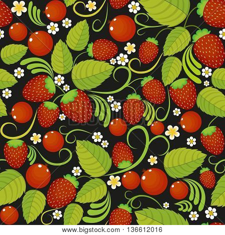 Traditional Russian seamless pattern with with green leaves, berry and strawberries in style khokhloma