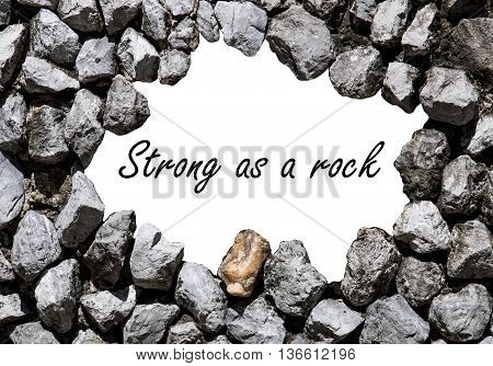 stone wall and space in the center with words Strong as rock wrote on it