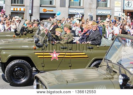 St. Petersburg, Russia - 9 May, War veterans in the car, 9 May, 2016. Holiday-action