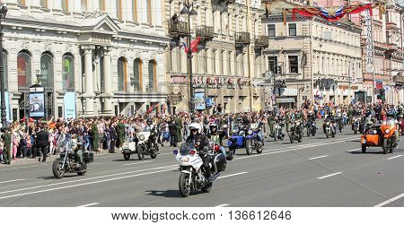St. Petersburg, Russia - 9 May, Motorcyclists in the action