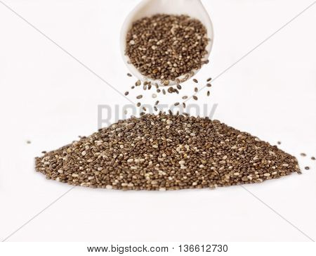 chia seeds isolated on white. Super food.