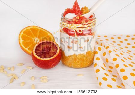 healthy breakfast in a jar. Quinoa cream cheese fruits. The concept of healthy proper nutrition for the whole family.