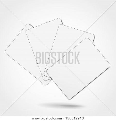 Illustration of blank cards on white background
