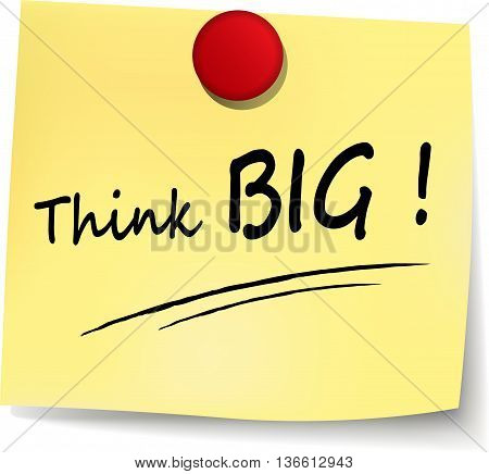 Illustration of think big on paper note
