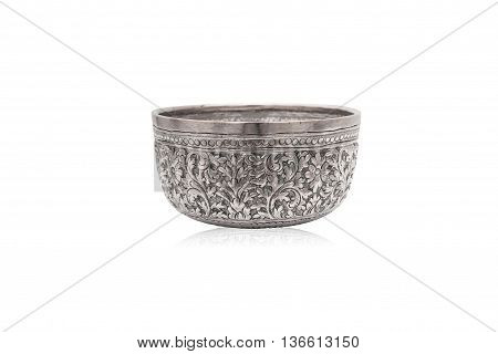 Old classic Thai art silver bowl. Handmade and handy craft. For interior decoration.