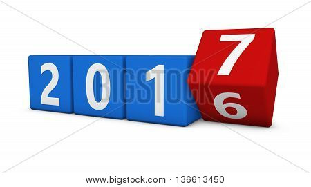 New year 2017 concept with four cubes and 2016-7 numbers 3D illustration isolated on white background.