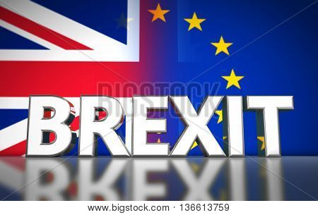Brexit British referendum UK concept with sign and Union Jack and EU flag with transition effect on background 3D illustration.