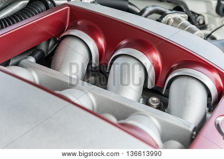 Powerfully engine of a modern sports car