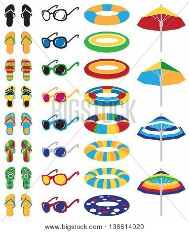 bright colored beach icons on a white background: flip flops floaties glasses and a umbrella
