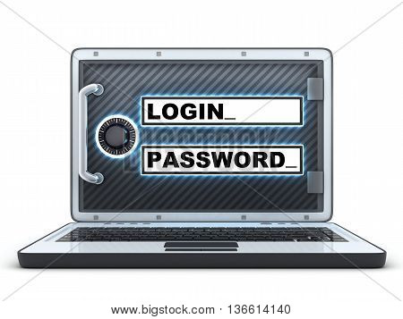 Laptop login and password (done in 3d rendering)