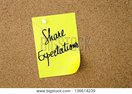 Share Expectations Written On Yellow Paper Note