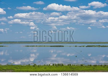 Skies, clouds, birds, and plants are reflected in the still blue water of the wetlands on a sunny day
