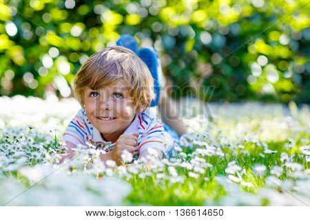 Funny little blond child with blue eyes laying on the grass with daisies flowers in the park. On warm summer day during school holidays. Kid boy dreaming and smiling.