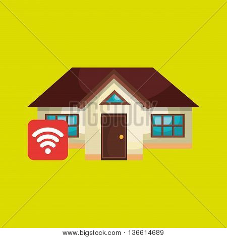 smart home with wifi zone isolated icon design, vector illustration  graphic