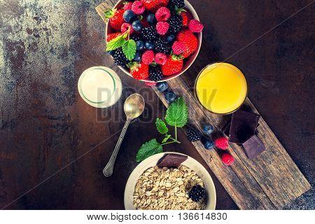 Bowl Of Fresh Fruit. Bblackberries; Raspberries; Blueberries On A Bowl.