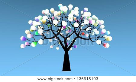 Tree whose leaves are bulbs. Colored lights are powered on. 3D Rendering