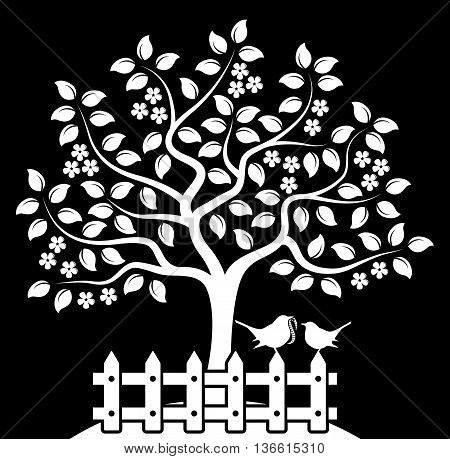 vector flowering tree and picket fence with mother bird and baby bird isolated on black background