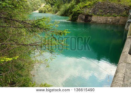 Reservoir In The Tyrolean Alps In Summer