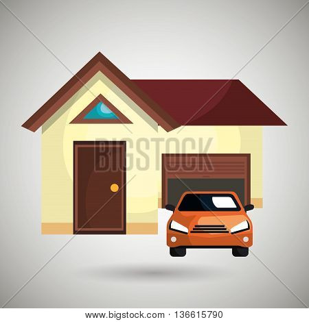 house with car in the garage isolated icon design, vector illustration  graphic