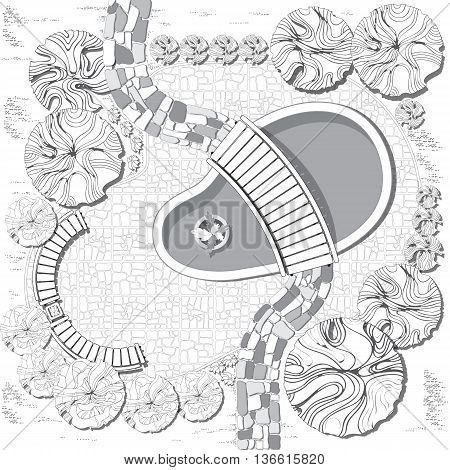 Plan of garden with pool, bridge, stones pathway, decorative plant and furniture symbols. Dendroplan  black and white.