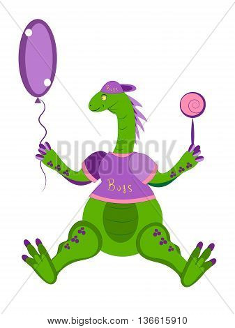 The dinosaur the kid holds a balloon and candy in a paw