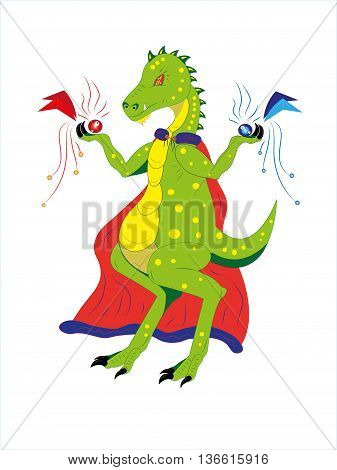 The dinosaur keeps two elements of elements in a raincoat fire and ice