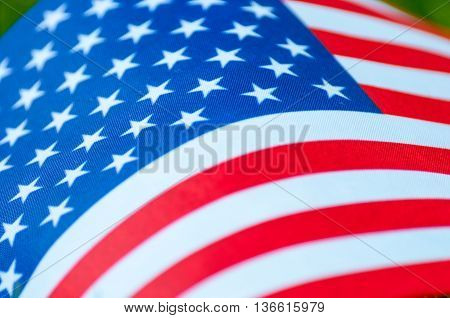 Closeup of American flag. Symbol of the United states of America.