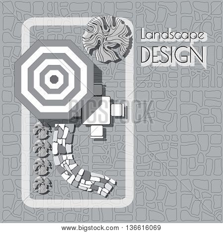 Plan of garden with furniture symbols, stones pathway, decorative plant and words Landscape design.  Patio with garden chairs and table, umbrella  grey and white on paved background.