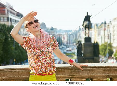 Woman Standing At Wenceslas Square And Looking Into The Distance