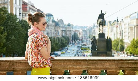 Relaxed Woman Standing Near National Museum At Wenceslas Square