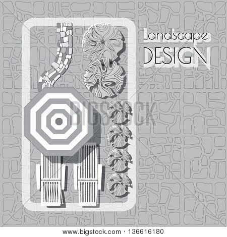 Plan of garden with furniture symbols, stones pathway, decorative plant and words Landscape design.  Patio with lounge, umbrella  grey and white on paved background.