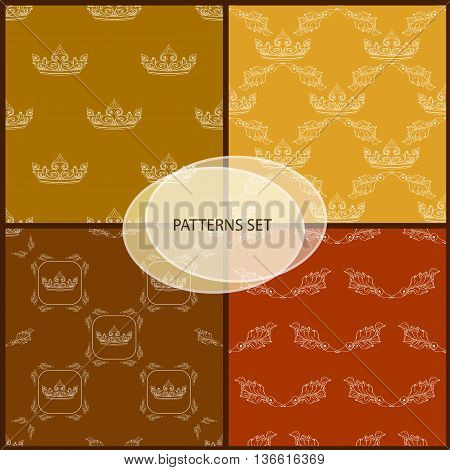 Seamless pattern set with crown and floral decorative element. Retro patterns set on golden and dark brown background.
