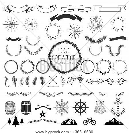 Huge set of vector vintage design elements. Twigs , arrows , mountain bike, strokes , figures , wreaths , flowers , feathers , ribbons , monogram , barrels , gun , anchor, steering wheel , wood .