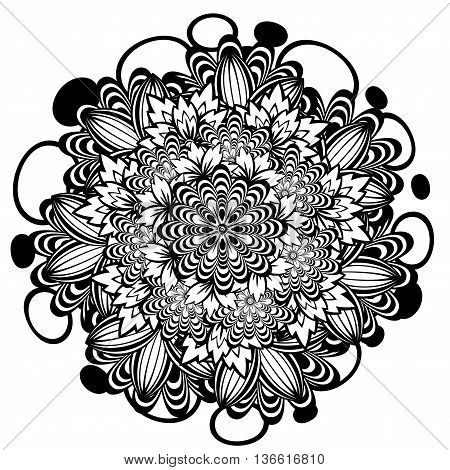 Flower Ornament Black And White