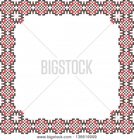 Frame, black, red patterns on canvas, abstract embroidery