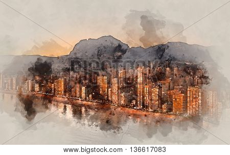 Digital watercolor painting of a Benidorm city at sunset. Costa Blanca Alicante province. Spain