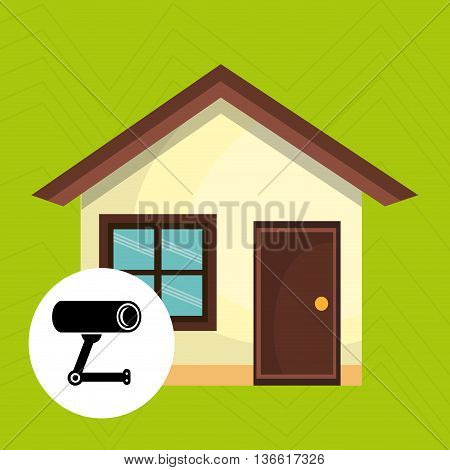 smart home with camera cctv isolated icon design, vector illustration  graphic