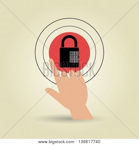 human hand selecting padlockisolated icon design, vector illustration  graphic