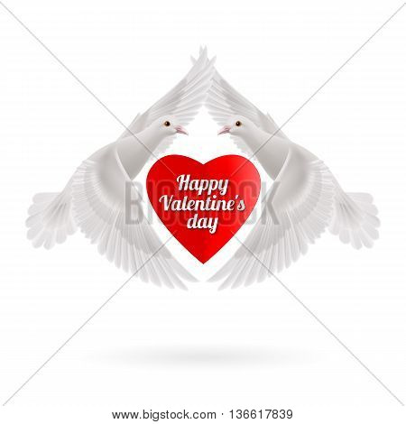 Red heart between two white flying doves on white background