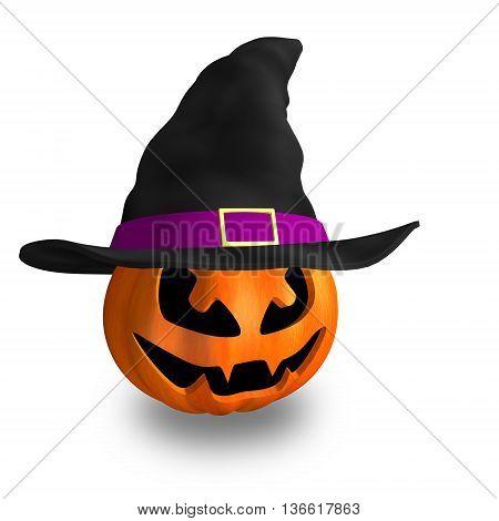 halloween citrouille orange sorcière chapeau 3d illustration