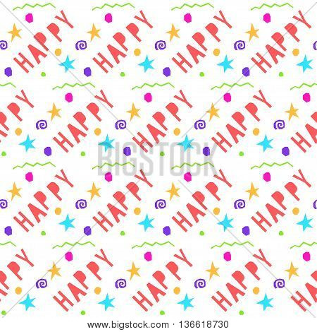 Abstract Happy Seamless Pattern Background. Handmade Happy Letters.