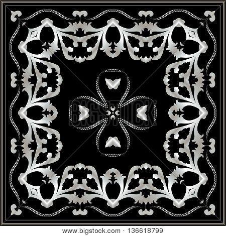 Dark neckerchief with silver pattern. Stylish design.