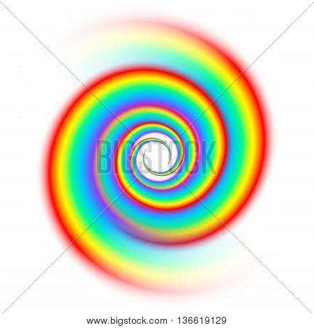 Rainbow spiral spectrum isolated on white background